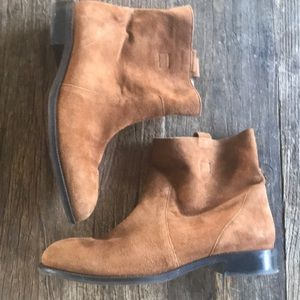 Lands End Suede Brown Leather Boots Size 9.5
